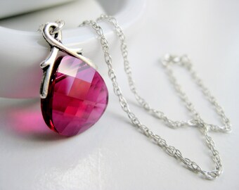 Hot pink necklace, Swarovski crystal necklace, magenta jewelry, sterling 925, tear drop necklace handmade