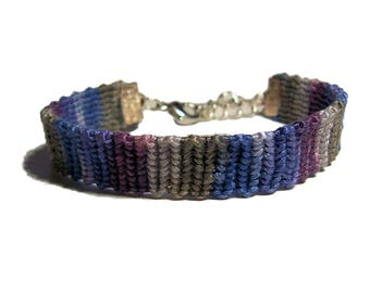 Handwoven Fiber bracelet Amethyst and Gray