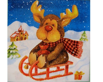 Set of 3 napkins NOE115 reindeer sledding