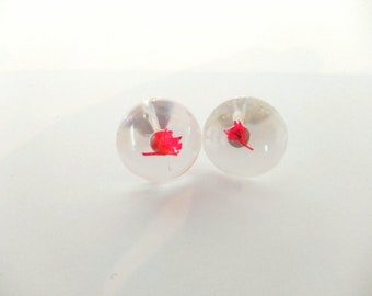 Red Dyed Fuchsia Small Stud Earrings - Cast in resin with 925 sterling silver findings
