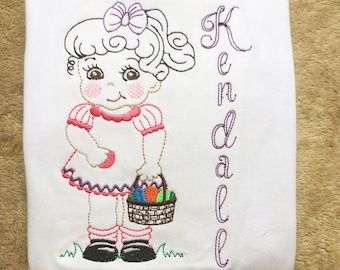 Easter Sketch Girl Shirt - Embroidered Shirt - Personalized Easter Outfit- Easter Egg Hunt