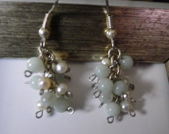 Jade and Freshwater Pearls Cluster Dangle Earrings-Lucy