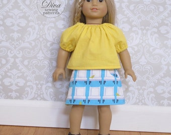 Skirt and Peasant Top Patterns for 18 inch Doll - Doll Clothes Sewing Patterns PDF fit American Girl