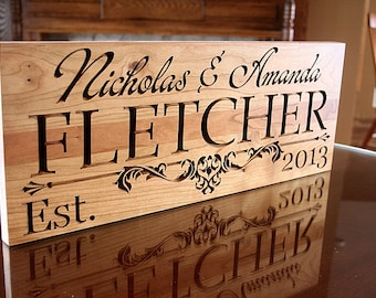 Family Name Sign, Personalized Last Name Wood Sign, Custom Wedding Sign, Custom Date Sign, Benchmark Custom Signs, Cherry IG