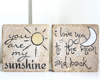 Child Bookends- You Are My Sunshine/ I love you to the moon and back/ -Nursery Decor/ Woodland/ Kid Bookends/  Rustic Child Decor