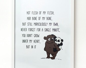 Adoption Print, Adoption Gift, Nursery Print, Adoption Poem, You Grew In My Heart Print