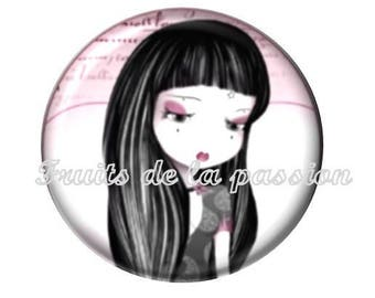 1 cabochon 30 mm round miss Gothic, girl