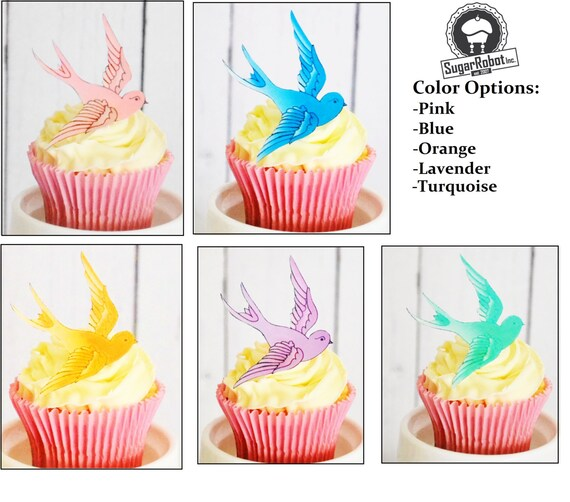 Edible Sparrows  for Cake & Cupcakes - Food Decorations - Cake Toppers