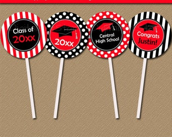 Graduation Party Decorations - EDITABLE Graduation Cupcake Toppers - Printable Graduation Cupcake Picks - Red Black Graduation Toppers G4