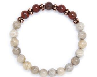 Wrist Mala, Mantra Bracelet, Meditation Beads, Buddhist Jewelry For Healing, Protection & Energy Buddhist, Fossil Coral and Rainbow Jasper