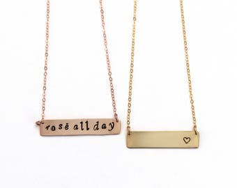 Medium skinny bar necklace custom name date monogram bar rose gold silver necklace