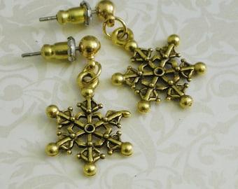 Gold-Tone Snowflake Earrings
