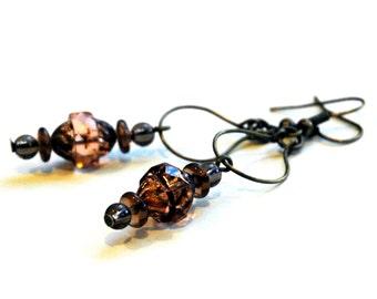 Blush Peach Swinging Hoop Earrings, Wineglass Charm Hoops, Peach Czech Glass with Amber Beads, Boho Style Hanging Charm Small Hoop Earrings