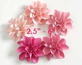 """3D Pink Dahlia Paper flowers/ wedding and party flowers / 2.5"""" -6"""" pink paper flowers/ set of 10 flowers"""