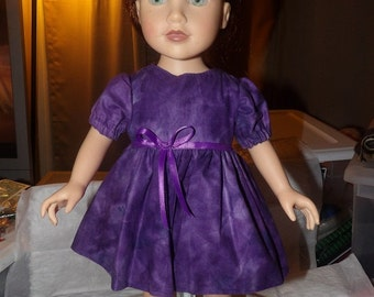 Grape purple full dress with puffy sleeves for 18 inch Dolls - ag237