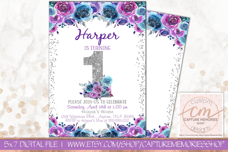 1st Birthday Floral invitationPurple Birthday InviteGirl