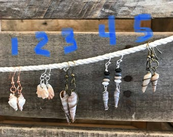 shell earrings, wire wrapped shell earrings