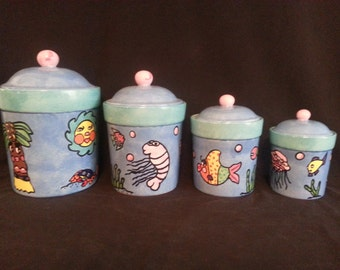 Unique Tropical Fish Ceramic Cannister Set (4)