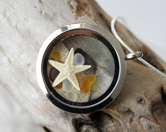 Sale 20% Rabais Star fish locket, star fish necklace, ocean locket, sea shell necklace, sea glass necklace, sea glass, sea glass pendant, st