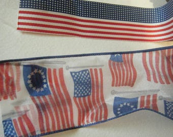 Patriotic Ribbon //Americana //Red White Blue// Fourth of July// Memorial Day Craft Supplies