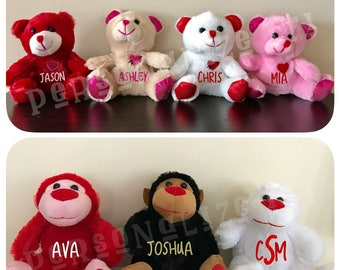 Personalized Valentines Day Teddy Bears and Monkeys / personalized / Monkey / Bear / Valentines Gift / Plush animals / Cute
