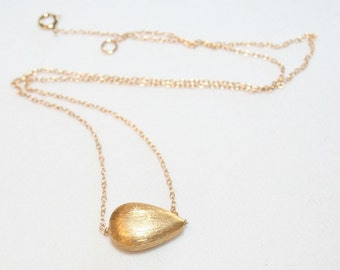 """Gold Teardrop delicate layering Necklace - 16"""". 14k gold filled chain. Bridesmaid. Simple. Layer. Gift Minimalist. Geometric. Everyday"""