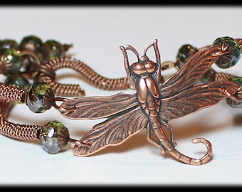 Journey... Handmade Jewelry Bracelet Beaded Wire Wirework Bangle Cuff Dragonfly Glass Crystal Antique Copper Olive Moss Green Adjustable