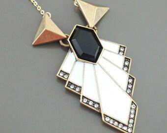 Art Deco Necklace - Vintage Inspired - White Necklace - Crystal Necklace - Black and White Enamel Necklace - handmade jewelry