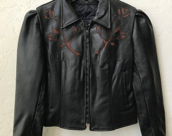 """Women's Vintage Custom Made """"Just Leather"""" Motorcycle Jacket With Roses Sz 20"""