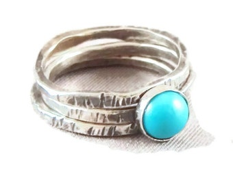 Turquoise and Sterling Silver Stacking Rings, stackable