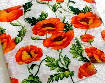 Kitchen Towels Set of 2 Cotton towels Dish towels Hand towels Tea towels Poppy Guest hand towels Kitchen linens Nice towels with red poppies