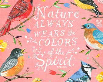 Colors of The Spirit Art Print | Hand Lettered Emerson Quote | Inspirational Wall Art | Watercolor Typography | Katie Daisy | 8x10 | 11x14