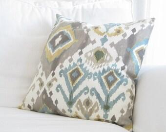 throw pillows, decorative pillows, ikat couch pillows, grey teal yellow ikat pillow covers, ikat pillows, decorative pillows, blue pillows