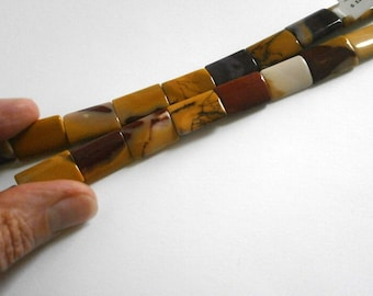 10pcs Moukaite Jasper Puffed Pillow Beads 13mm x 18mm Rectangle Beads Multicolor Gemstone Beads