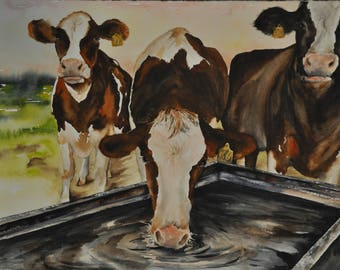 Cow Painting Western Decor,  Cowboy Ranch Painting print on paper