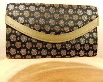 Metallic Fabric Clutch Purse, 1950s Handbag, Made in England, Mid Century Fashion, RFC Brand