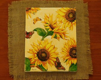 ORIGINAL Sunflower art | canvas art | mixed media collage painting | Sultry Sunflowers |