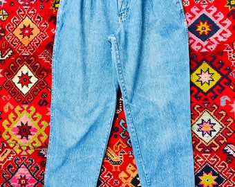 Vintage 90s Bill Blass High Waisted Mom Jeans Pleated Tapered Size 8/10/12 Baggy Denim Normcore Medium Wash