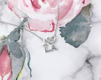 Silver I Love L.A Dainty Necklace