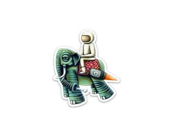 Floater Elephant Spaceman Surreal Sticker