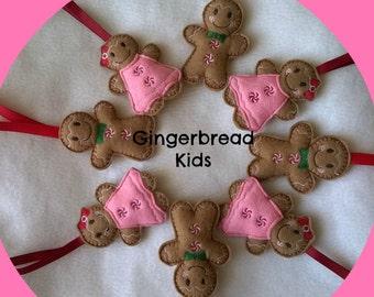Felt Christmas Tree Decoration, Gingerbread Man Tree Decoration, Gingerbread Boy and Girl, Felt Tree Decoration, Christmas Decoration