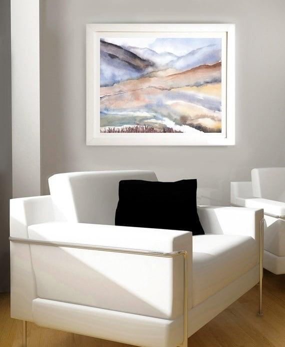 Pintura Acuarela abstracta del paisaje montaña de imprimir