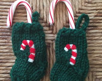 Tiny Stocking Ornament, Knitted Christmas Ornament, Candy Cane holder, candy cane ornament, miniature Christmas stocking, stocking stuffer