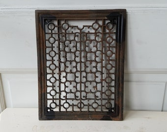 Antique Vent Cover, Antique Vent Cover, Vintage Cast Iron Grate Register Cover Gothic Style Ornate Register Architecture Salvage Floor Grate
