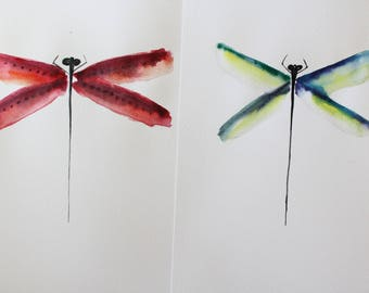 2 Set of ORIGINAL watercolor DRAGONFLY,  watercolor, original art for home, decor for her, gift art, Nature Illustration, dragonfly art OOAK