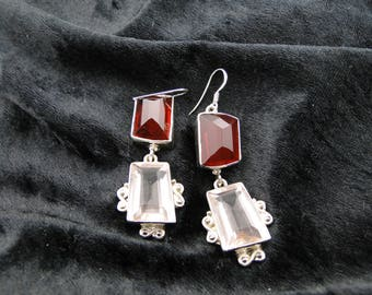 Sterling Silver Garnet and Rose Quartz Earrings
