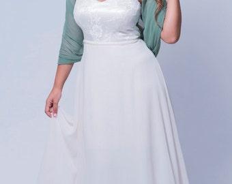 Sage Wedding Cover Up. Sheer Light Weight Loop Shawl. Versatile Top Wear As Shrug, Shawl, Crisscross Or Scarf. Bridesmaids Set Boleros Wraps