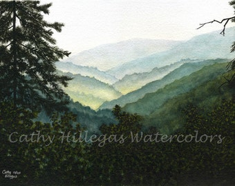 Smoky Mountains art watercolor landscape painting print by Cathy Hillegas, 16x21.5, misty mountains, green, teal, yellow, blue, black