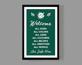 Welcome Quote Poster - Peace & Love Print - Restaurant Home Business Entryway Equality Equal Rights Dove Gift