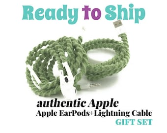 Gift Set for Her for iPhone 6 7 Charger Cable & Wrapped Tangle Free EarPods Headphones for iPhone iPod SAGE